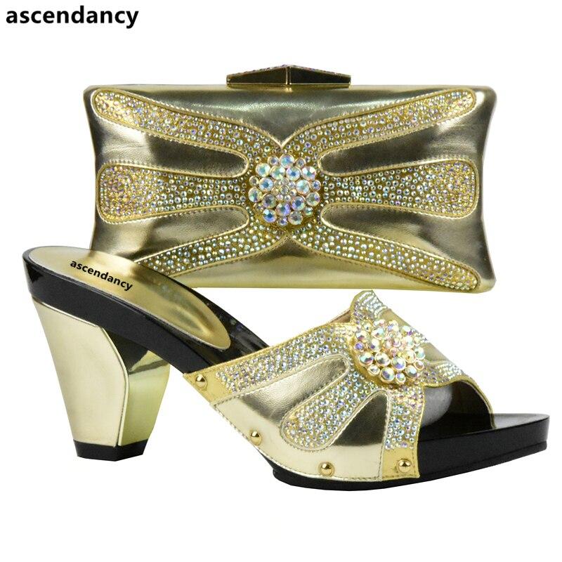 Zapatos Imitación Bolsas Juego rojo Mujer Color Y Italianos Último plata Diamantes Para De Rojo Fiesta Con Bolsa Boda Oro Decorados Bolsos qE6pWF7