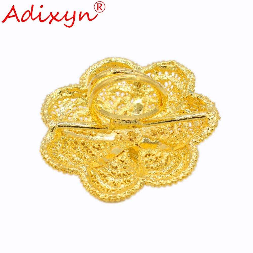 Adixyn mode largeur bague en or pour femmes couleur or inde bandes de mariage anneau accessoires de fête N04086 - 3