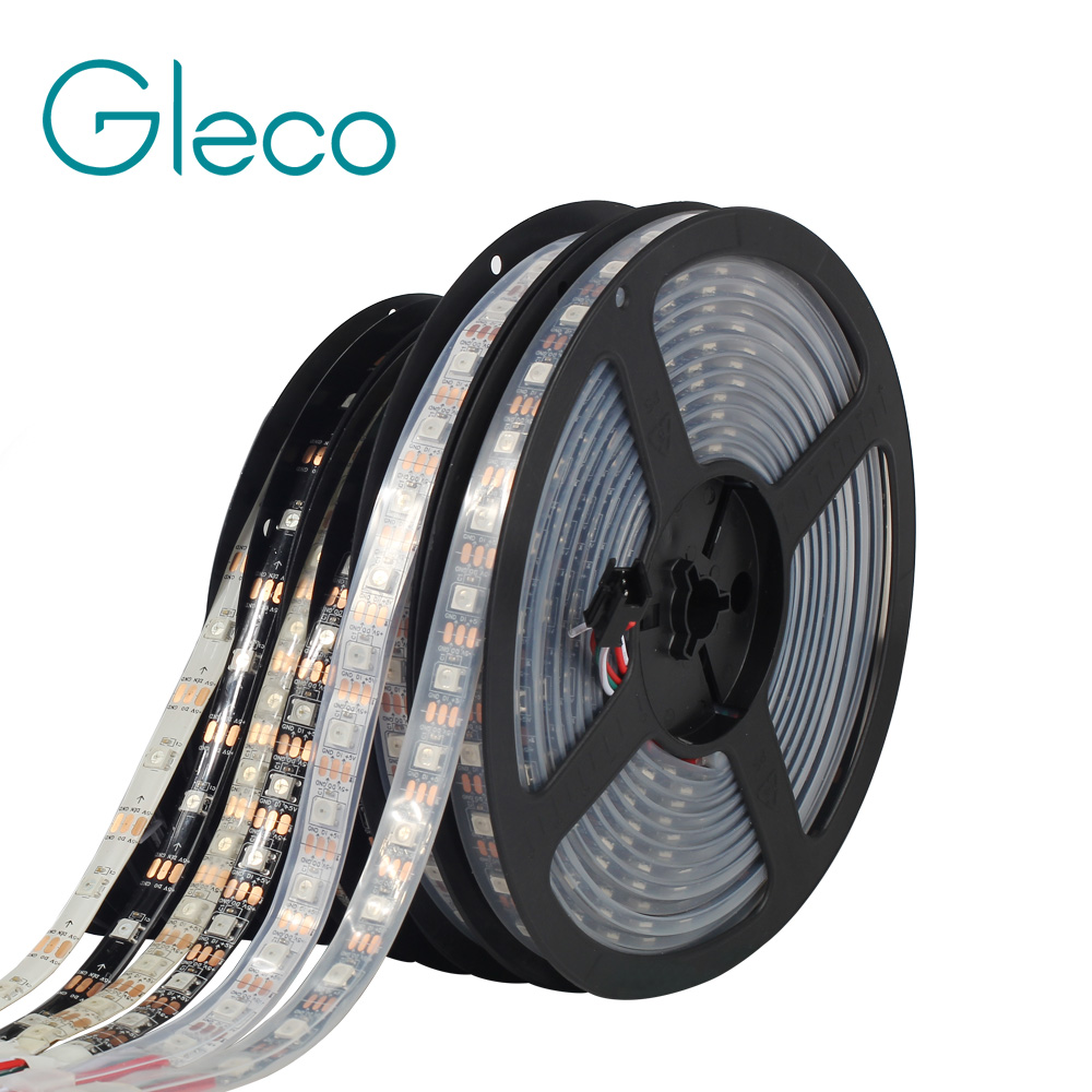 WS2812 IC LED Strip 5050 RGB 30/60/144 pixels dream color smart LED pixel strip WS2812B Black/White PCB,IP30/IP65/IP67 DC5V