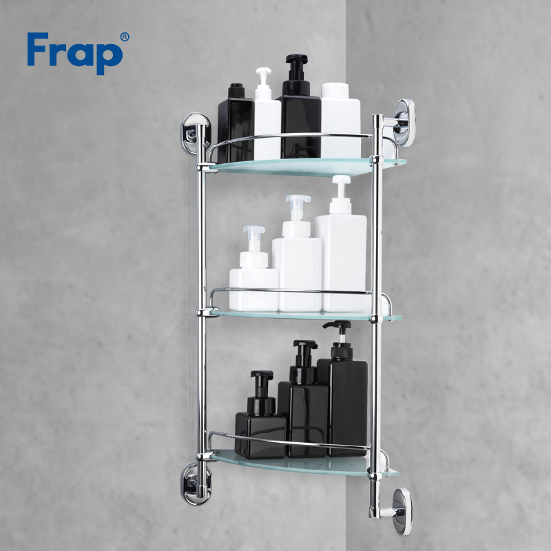 Frap 3 camadas de Vidro Prateleira Do Banheiro Banheiro Prateleiras Multiuso Cesta Acessórios Do Banheiro fixado na Parede do Banho Shampoo F1907-3