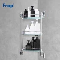 Frap Bathroom Shelf 3 layers Glass Toilet Multipurpose Shelves Wall mounted Bath Shampoo Basket  Bathroom Accessories F1907-3