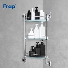 Frap estante de baño de 3 capas, inodoro de cristal, estantes de pared multiusos, cesta de champú de baño, accesorios de baño, F1907 3