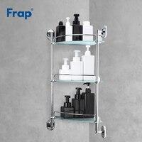 Frap prateleira do banheiro 3 camadas de vidro toalete prateleiras multiuso fixado na parede banho shampoo cesta acessórios do banheiro F1907-3
