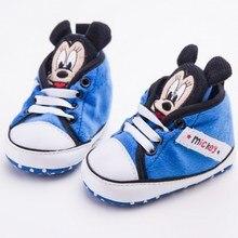 Милые брендовые Детские кроссовки с Минни Микки детская кроватка обувь для маленьких мальчиков и девочек, для первых прогулок, нескользящая Мягкая подошва, Sapatinhos, Размер 0-18 M