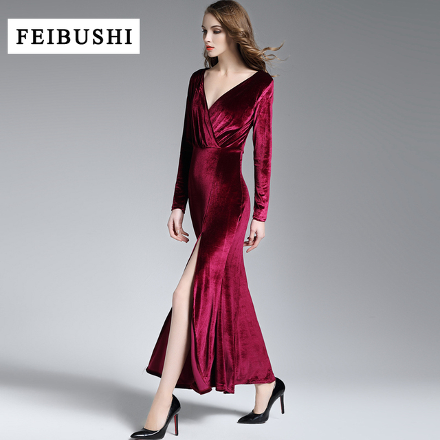 89cc017706 FEIBUSHI 2018 Runway Dress Spring Winter Evening Party Dresses Red Velvet  Dress Women Sexy High Split Long Maxi Dresses Vestido