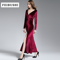 FEIBUSHI 2018 Runway Dress Spring Winter Evening Party Dresses Red Velvet Dress Women Sexy High Split Long Maxi Dresses Vestido