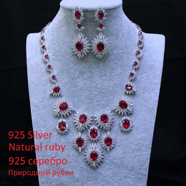 2016 New 925 Silver Luxury Ruby Wedding Jewelry Set With White Gold Red Statement Necklace