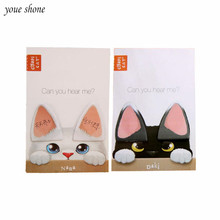 2PCS Sticky Notes Cats Ear Notebook Messager Paper Notepad Memo Cute Kawaii Inexd Sticky Notes Planner Message N Time Note mirui one day one do small note portable notepad sticky thick note paper