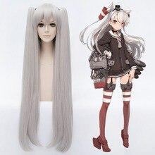 Kantai Collection Amatsukaze 100cm Long Straight Cosplay Wig for Women Fake Hair Wig Synthetic Hair for Anime Party Silver стоимость