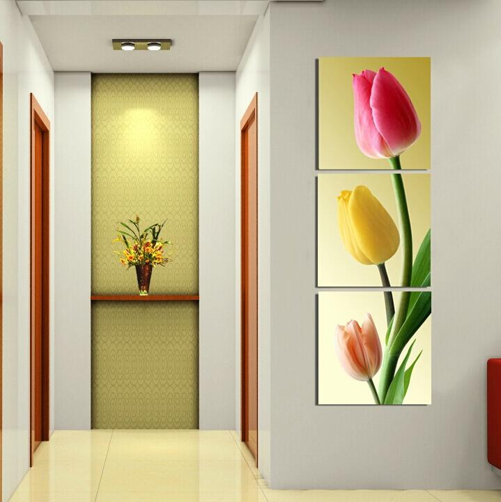 Buy 3 piece wall art pink flower painting - Posters gigantes para pared ...