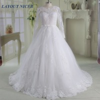 Robe De Mariage Long Sleeve Lace Wedding Dresses 2017 African Puffy Ball Gown Winter Bride Dress