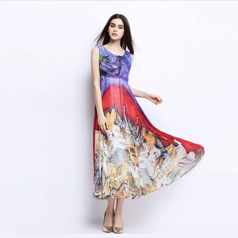 Women Silk dress Bohemian long dress 100% Natural Silk Print Beach dress summer Off shoulder