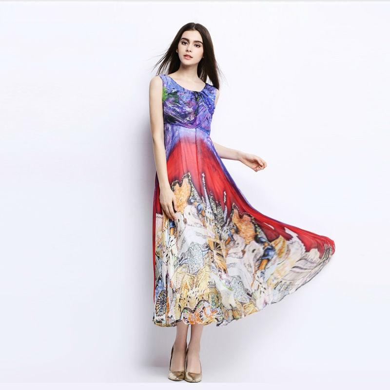 Women Silk dress Bohemian long dress 100% Natural Silk Print Beach dress summer Off shoulder