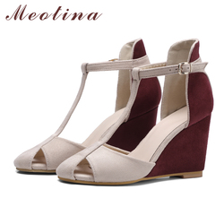 Meotina Shoes Women Pumps High Heels Wedges Heels T-Strap Shoes Spring Ladies High Heel Shoes Cutout Party Pumps Summer Blue Red 5