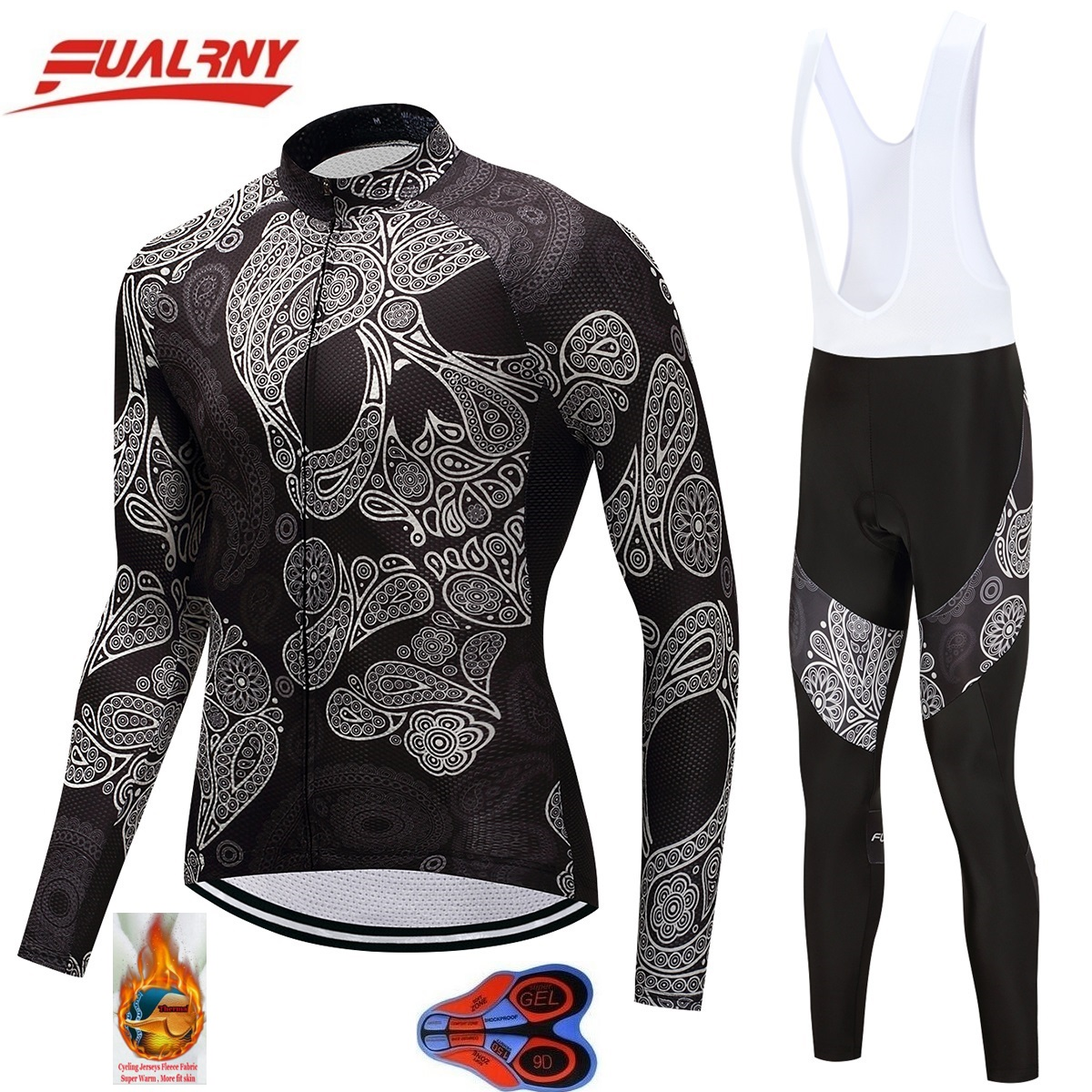 2018 FUALRNY winter Thermal Fleece cycling jersey long sleeve men with pants cycling sets bike wear cycling 9D gel Skull flower2018 FUALRNY winter Thermal Fleece cycling jersey long sleeve men with pants cycling sets bike wear cycling 9D gel Skull flower