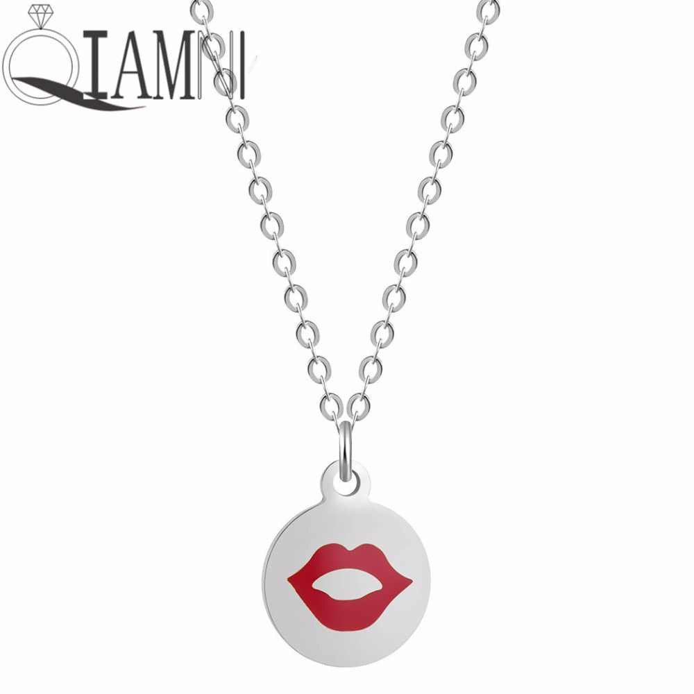 QIAMNI очаровательные пикантные красные губы Цепочки и ожерелья подвеска для Для женщин сладкий поцелуй Emoji выражение себе колье воротники Свадебные украшения