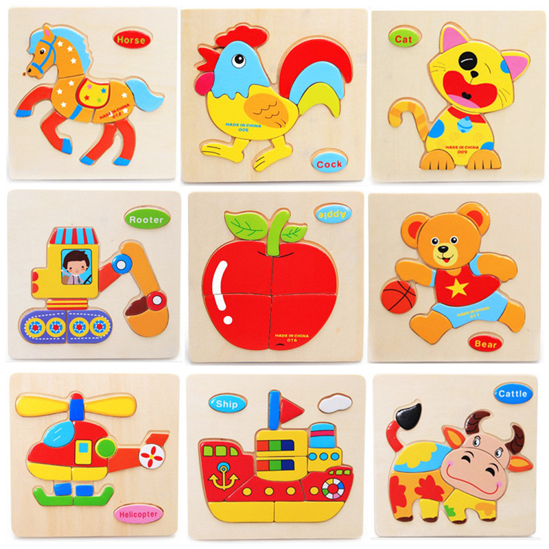 MUCHEN Wooden Animal Puzzle Educational Toys Child Game