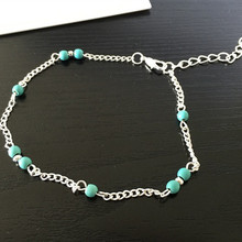 New unique souvenir beautiful blue green bead silver chain anklet wholesale free shipping
