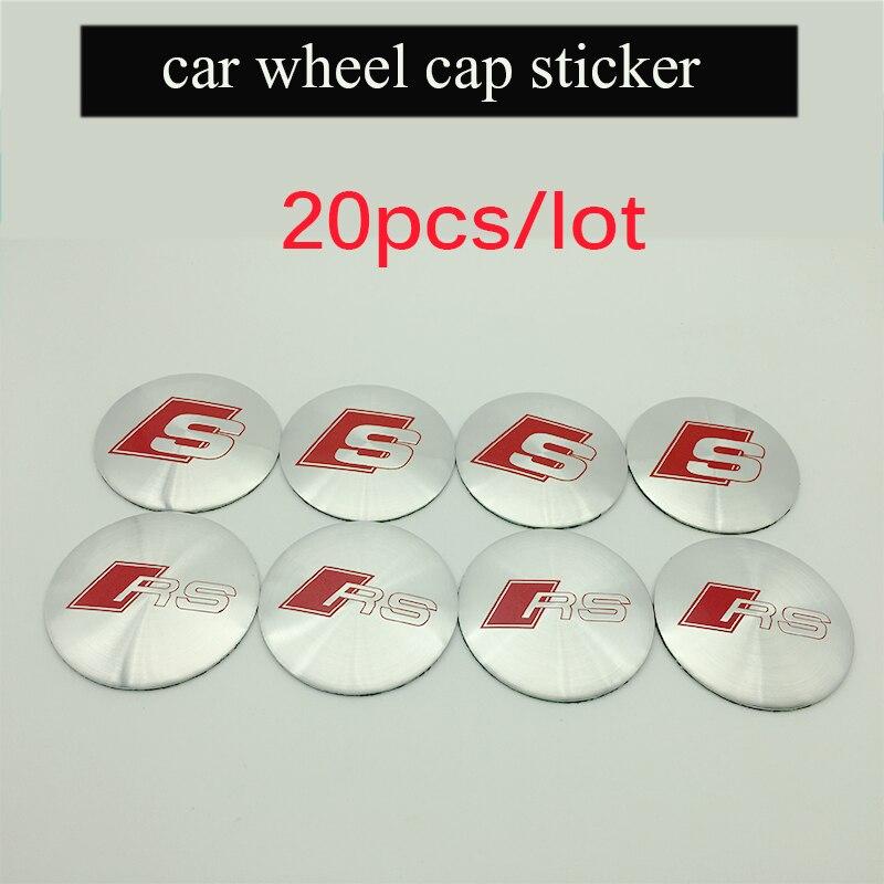 20 pcs 56mm Car Styling Sline S line Center Wheel Hub Cap Badge Cover Stickers For A1 A3 A4L A5 A6L A8 Q5 Q7 TT