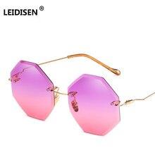 dfea054286c5 LEIDISEN Brand Round Rimless Sunglasses Women Fashion Gradient Sun Glasses  Female UV400 Alloy Vintage Lunette oculos