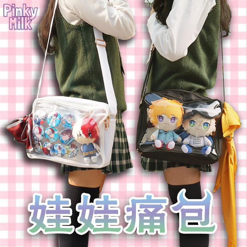 Japanese Lolita Canvas Transparent 20cm Dolls Itabag Shoulder Bag Harajuku Women's Students Clear Messenger Bag 8 Colors|  - title=