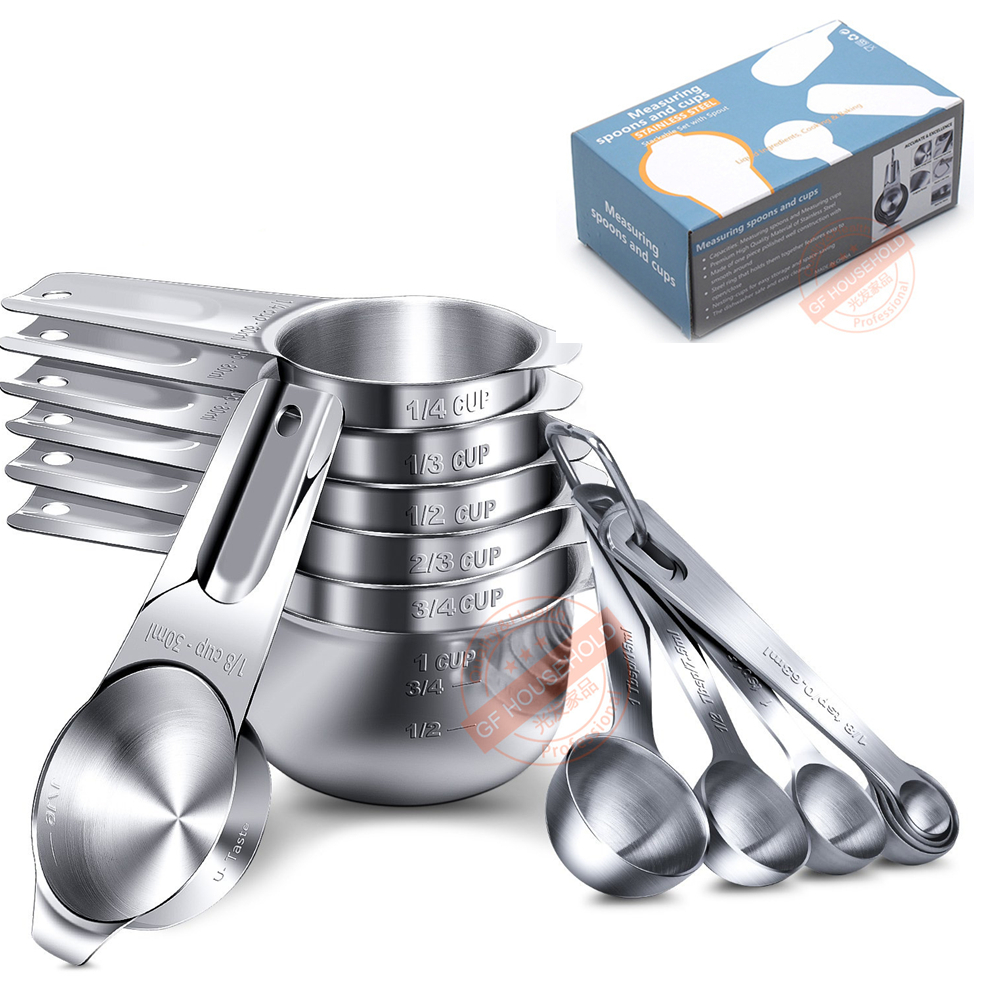 Stainless Steel Metal Measuring Cups And Spoons Set 7 Cup ,7 Spoon Of 14 Cooking Baking Kitchen  Accessories Dry Measuring Tools