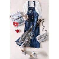 Vogue личность ковбой длинное платье женщины Джинсовое платье