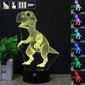 Ilusão 3D Animal Dinossauro de Controle Remoto LED Desk Mesa de Cabeceira Lâmpada de luz de 7 Cores Lâmpada Toque Crianças Crianças de Férias Da Família presente