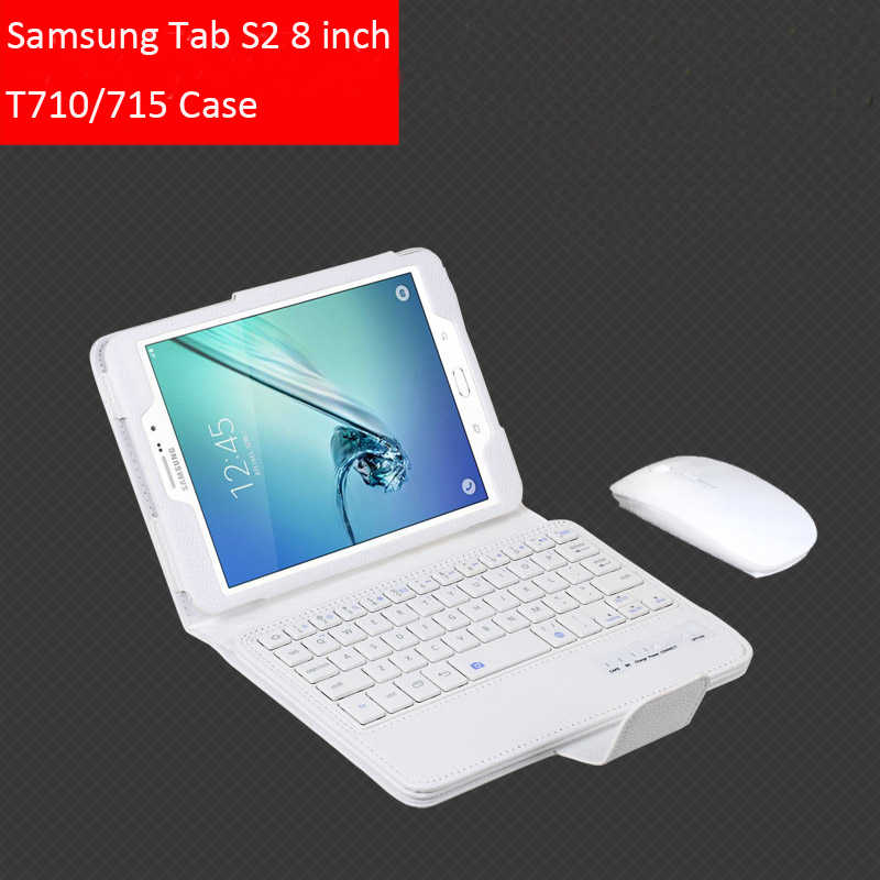 Voor Samsung GALAXY Tab S2 8.0 T710 T715 Verwisselbare Wireless Bluetooth Keyboard Portfolio Folio PU Leather Case Cover