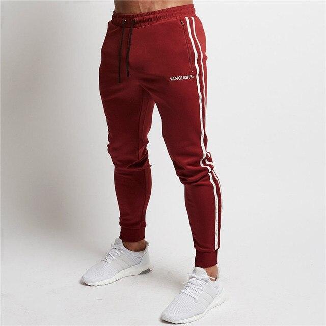 399b35d98b38e4 Red Jogging Pants Men Striped Sport Sweatpants Running Pants GYM Pants Men  Cotton Trackpants Fitness Jogger Bodybuilding Trouser