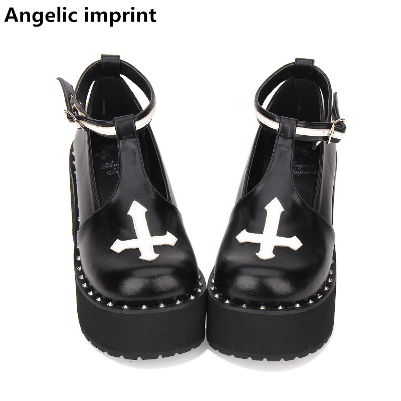 27060ee701 Imprint angélico Gótico mulher mori menina lolita cosplay do punk sapatos  de senhora bombas dos saltos