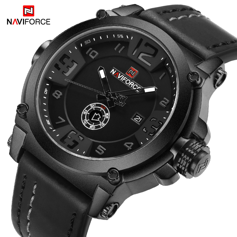 NAVIFORCE 9099 Mens Watches Top Brand Luxury Sport Quartz Watch Leather Strap Clock Men Waterproof Wristwatch Relogio Masculino-in Quartz Watches from Watches