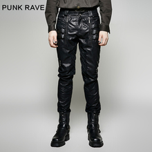 Punk Rave Mens Pants Rock Long Heavy Metal Pu Leather Street Cool Pencil Hi Hop Streetwear