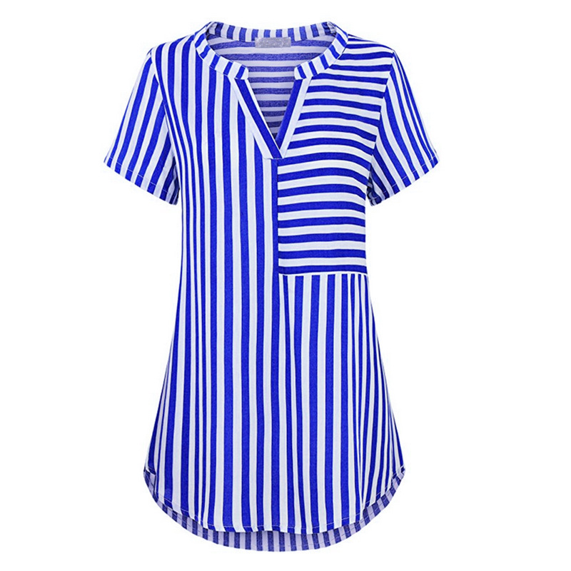 Female   Blouse     Shirt   2018 New Summer Stripes Casual Short Sleeve   Shirts   Loose Women Tops Ladies Office Tunic WS9463V
