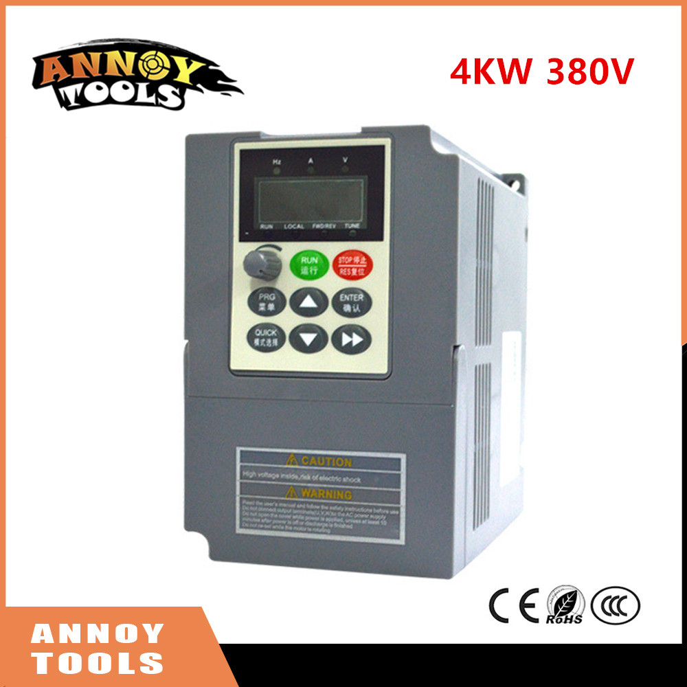High Quality 380V 4kw 9a Frequency Drive Inverter  CNC Driver CNC Spindle motor Speed control,Vector converter 10 50v 100a 5000w reversible dc motor speed controller pwm control soft start high quality