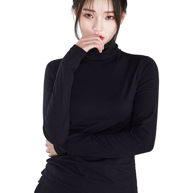ce82653e25af4b Women Turtle Neck Long Sleeve T Shirts High Neck Top Base Shirt Solid Color /Striped