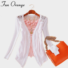 Fun Orange New Summer Fashion Women Lace Sweet Candy Color Crochet Hollow Out Knitwear Blouse Full Sweater Cardigan Open Stitch(China)