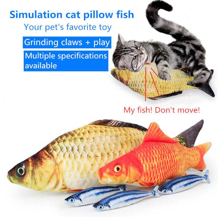 ぬいぐるみクリエイティブ 3D 鯉魚の形の猫のおもちゃのギフトかわいいシミュレーション魚演奏のおもちゃペットグッズキャットニップ魚ぬいぐるみ枕人形