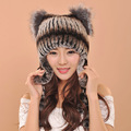 Kenmont Fashion Lady's Winter Earflap Hats, Women Knitted Hats With 100% Genuine Fox Fur
