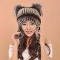Kenmont Inverno Earflap Chapéus da Forma da Senhora, mulheres Malha Chapéus Com 100% Genuíno couro de Pele De Raposa