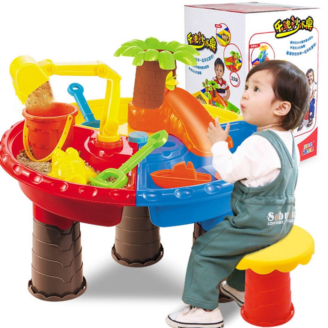 22 pièces/ensemble enfants en plastique sable Pit Set plage sable Table eau jouer jouet 9826-couleur aléatoire