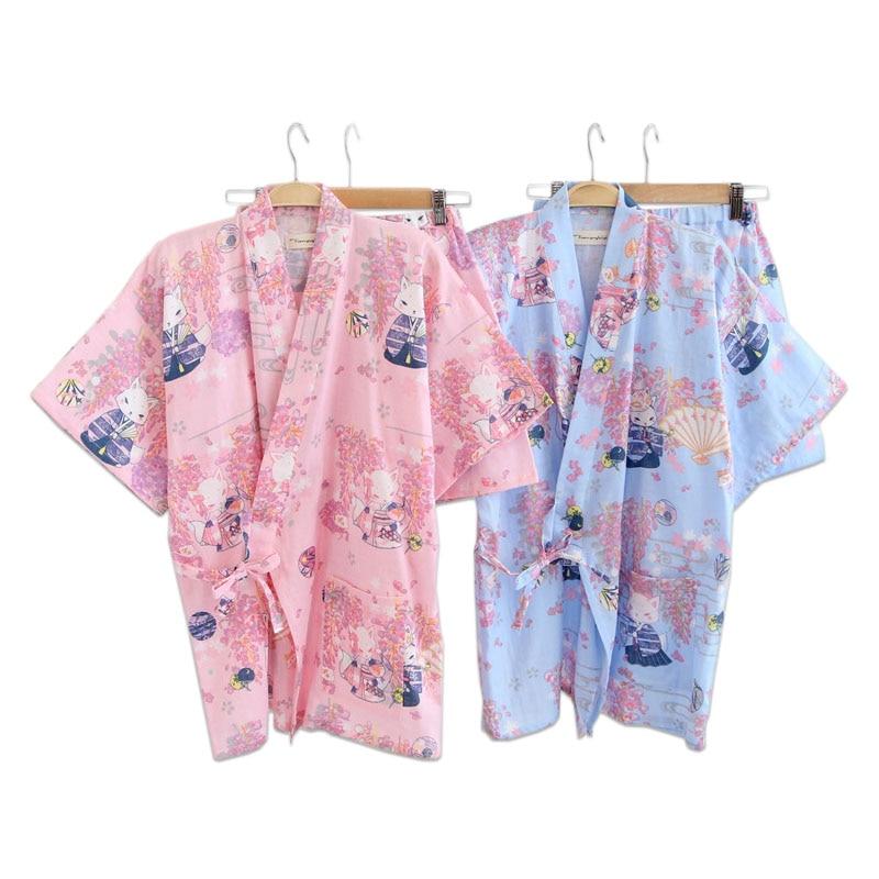 Cute fox 100% cotton kimono pajamas sets women short pyjamas simple fresh Floral fox sleepwear women pijama bath robes Summer