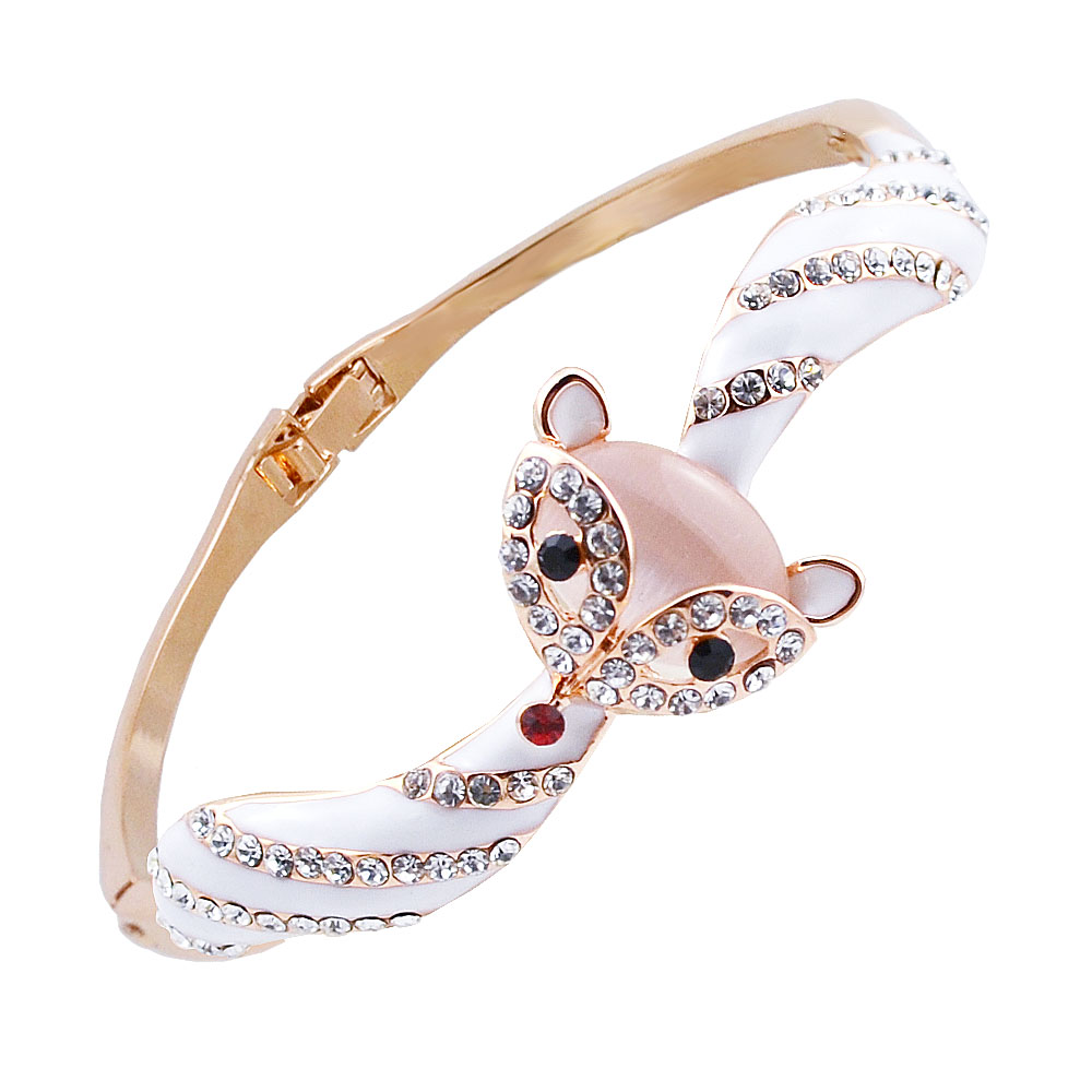 Diamond bangles latest jewelry designs jewellery designs - W043 Opal Animal Fox Bangles For Women Gold Color Jewelry 2017 Latest Design Bangle Wholesale Mother S