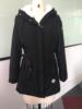 Zima ciepły płaszcz kobieta wiatroszczelna Slim Outerwear moda elastyczna talia Zipper kieszeń z kapturem sznurkiem Overcoats jesień ubrania
