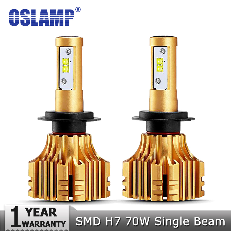 Oslamp CREE SMD Chips 70W/pair H7 LED Headlight Car Bulbs 7000LM 6500K 12v 24v Auto Headlamp Kits New S6 Series Led Fog Lamps
