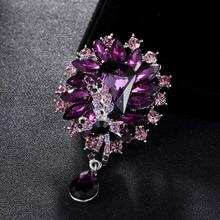 Luxury Brand Purple Brooch pins for women Wedding Bridal Jewelry Perfect Colares Rhinestone Crystal Scarf pins Broches Bijoux
