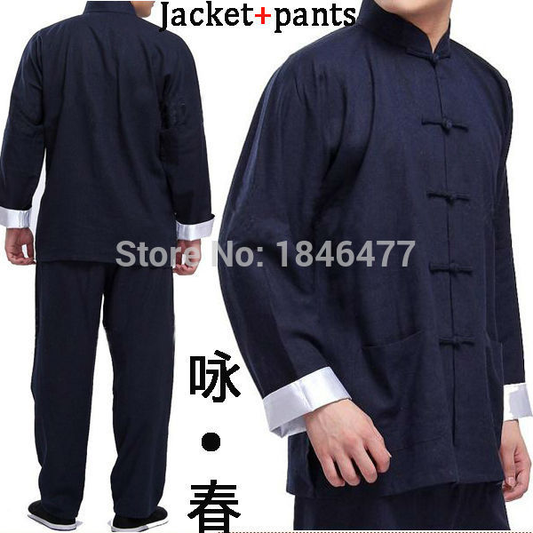 все цены на Dark Blue Bruce lee Tang suits male tai chi chinese traditional martial arts clothes kung fu uniforms Wing Chun clothing sets