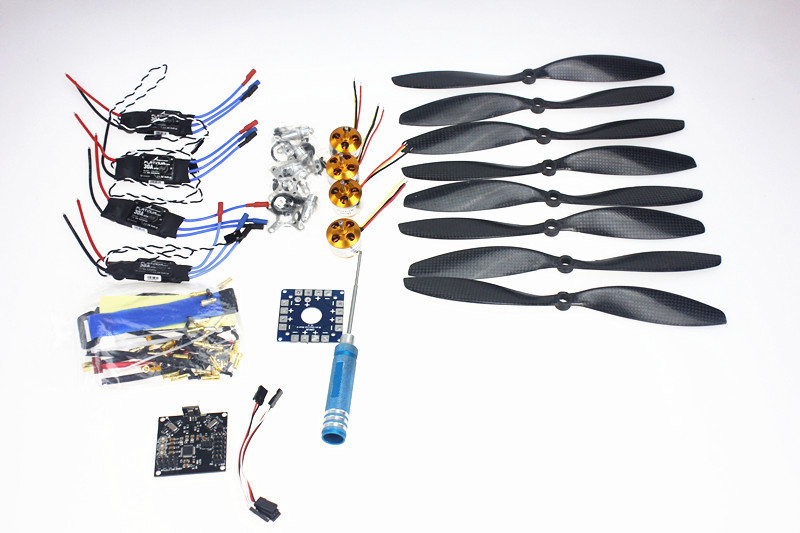 F02015-E 4 Axis Foldable Rack RC Quadcopter Kit with KK V2.3 Circuit Board +1000KV Brushless Motor + 10x4.7 Propeller + 30A ESC 450f nylon fiber frame airframe kk xcopter v2 9 circuit board 1000kv motor 30a esc 1045 propeller f02192 c