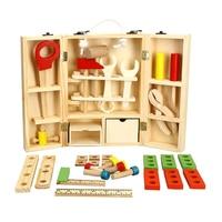 2017 niños calientes de la venta de madera multifuncional herramienta conjunto toys caja de mantenimiento herramientas de madera combinación de tuerca juguete del bebé para niños regalo del día