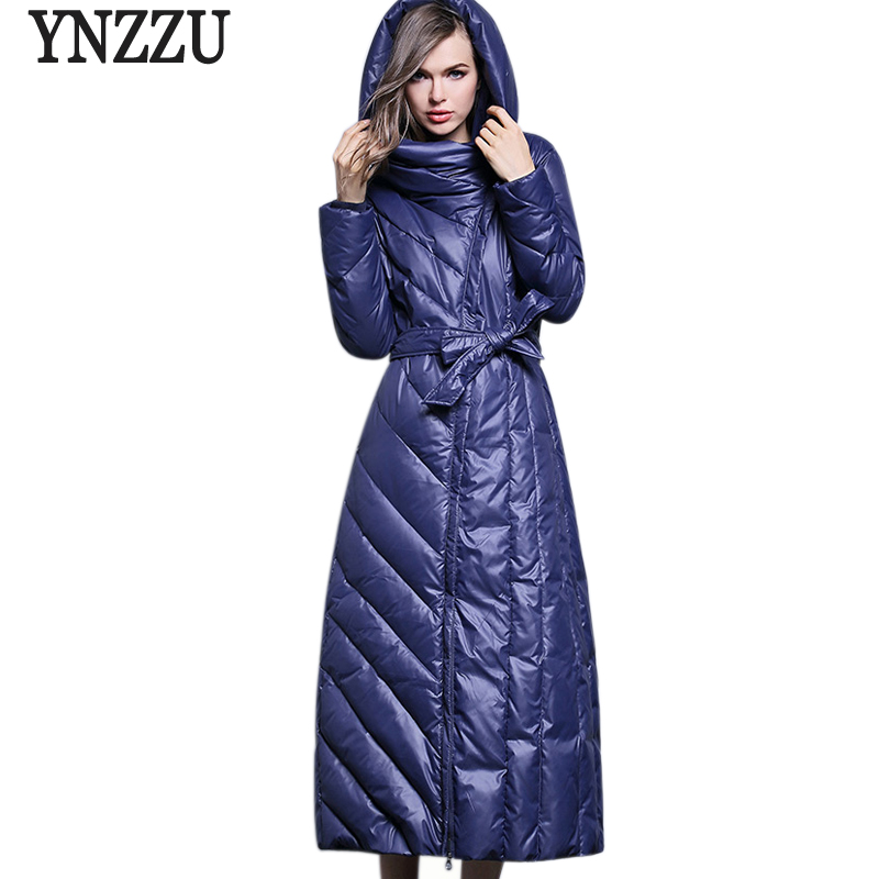 YNZZU Plus Size Womens Down Jackets 2017 New Winter Elegant Slim Warm Hooded Extra Long Female Down Jackets Snow Outwears AO303